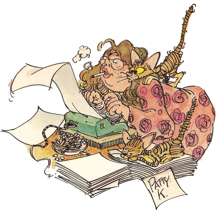 Patty Klein als karikatuur (getekend door Jan van Haasteren) Beeld Jan van Haasteren