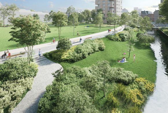 Zo zou het nieuwe park op de Hertogensite eruit gaan zien in de toekomst.