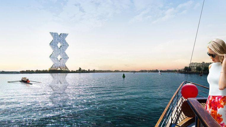Architect Winy Maas bedacht dit gebouw met drie andreaskruisen, dat aan het IJ zou kunnen verrijzen. Beeld Artist¿s Impression Winy Maas
