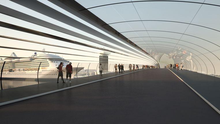 Een artist impression van een mogelijke brug naar Amsterdam-Noord. Beeld Cees van Giessen (CIID)