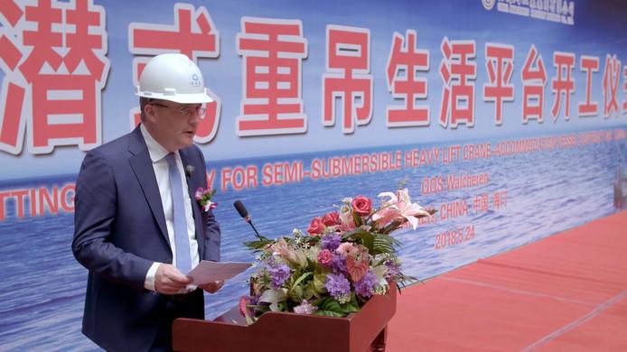 Algemeen directeur Leon Overdulve van OOS International op de werf in China waar de nieuwe offshoreschepen OOS Walcheren en OOS Serooskerke worden gebouwd.