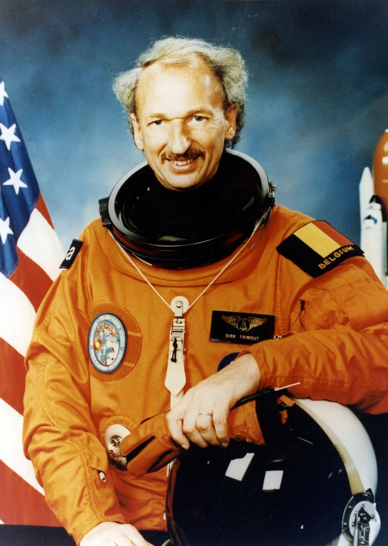 Dirk Frimout in 1992, net voor de lancering van de Atlantis Spaceshuttle in het Kennedy Space Center in Amerika.