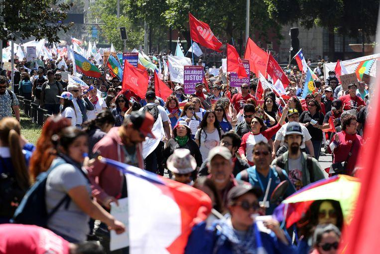Protest in Santiago vandaag.