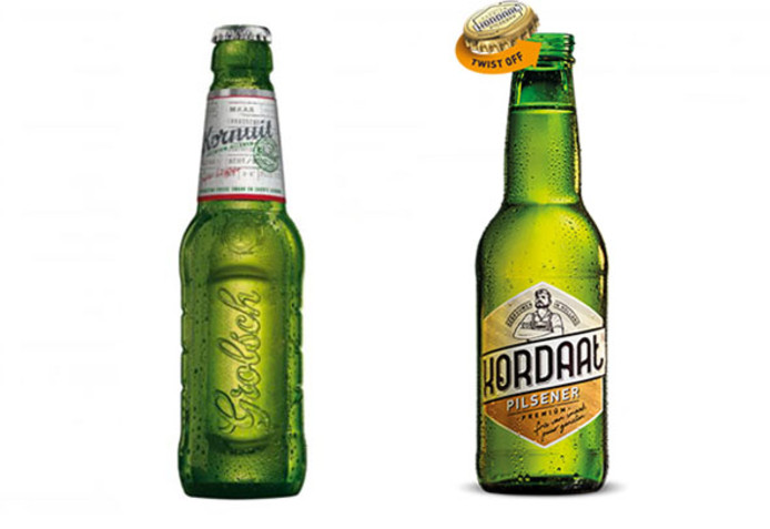 Links Kornuit bier, rechts de versie de Lidl: Kordaat