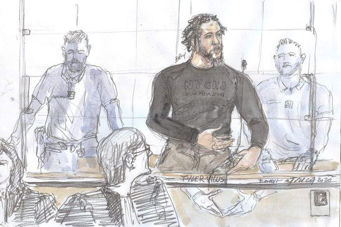 Een schets van Tyler Vilus gemaakt tijdens een zitting van de Parijse rechtbank. (25/06/2020)