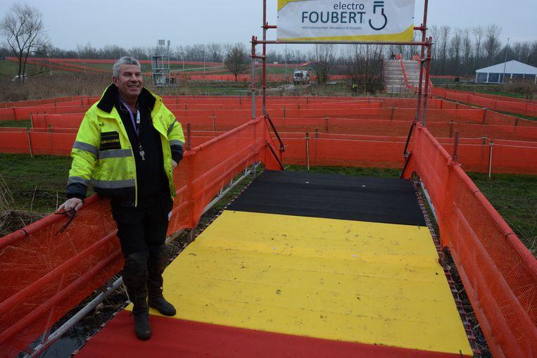 Marc Janssens bij het parcours voor het BK veldrijden dat dit weekend plaats vindt in Bazel.