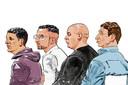 Voor de vierde keer in één maand is een crimineel veroordeeld tot levenslange celstraf. Vlnr: Hicham M., Omar L., Naoufal (Noffel) F. en Willem Holleeder.