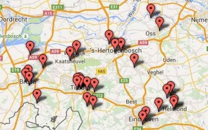 De kaart met deelnemende brouwerijen.