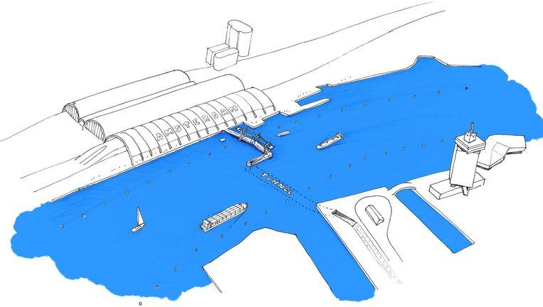 Rick Porcelijns idee in schets: vanaf CS eerst een fietsbrug naar een eiland, dan een tunnel op drieënhalve meter diepte die naar Noord leidt. Beeld Rick Porcelijn