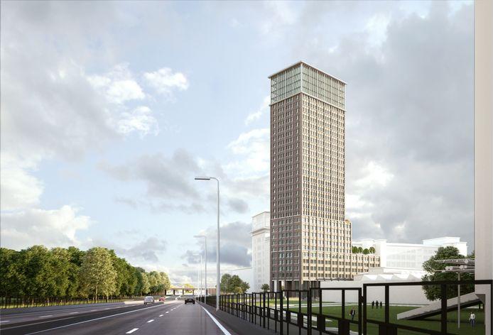 Woontoren N heeft nog geen naam. Hij wordt 110 meter en staat op Strijp-S tussen het Veem en het Klokbouw (op de impressie achter de toren) aan de Beukenlaan.