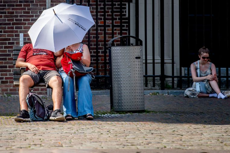 Een paraplu tegen de zon als bescherming tegen de hitte.  Beeld ROBIN UTRECHT/ANP