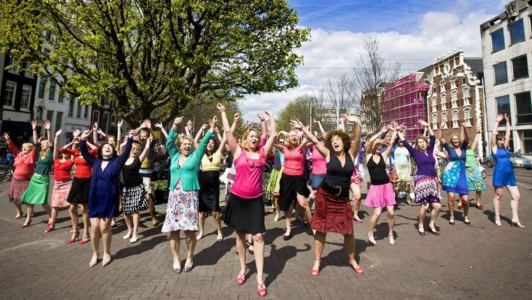 In Nederland vieren vrouwen het fenomeen 'rokjesdag'. Beeld ANP