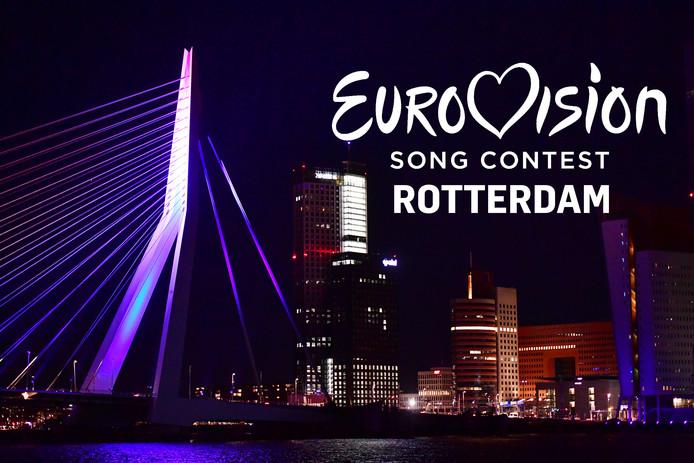 Eurovisie-logo voor de Erasmusbrug in Rotterdam.