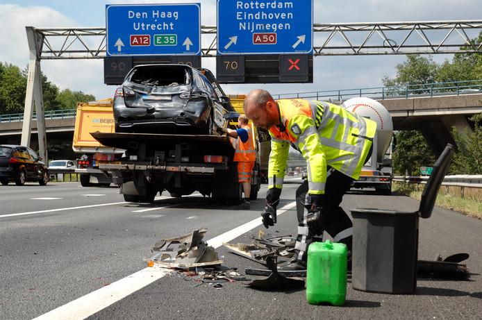 Flinke blikschade door ongeval op de A12