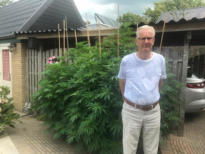 De 73-jarige Jan van Raalte heeft wietplanten in de tuin staan om zijn vrouw te helpen.
