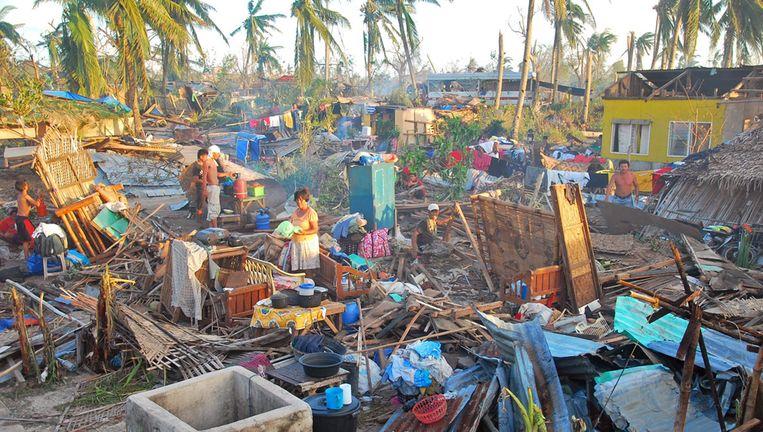 De verwoesting op het eiland Bantayan is immens. De behoefte aan voedsel en schoon drinkwater is groot. Beeld epa