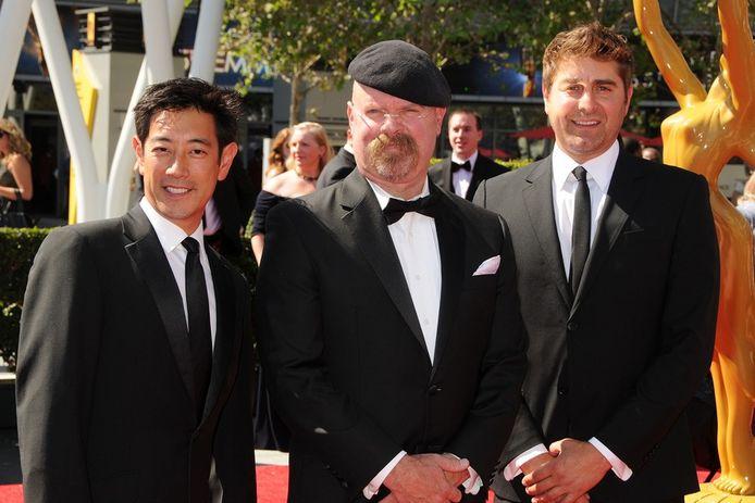 Mythbusters Grant Imahara (l), Jamie Hyneman en Tory Belleci.