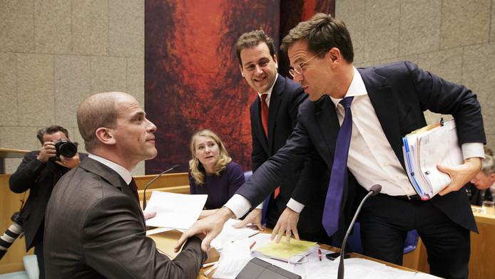 PvdA-leider Diederik Samsom, vicepremier Lodewijk Asscher en premier Mark Rutte.