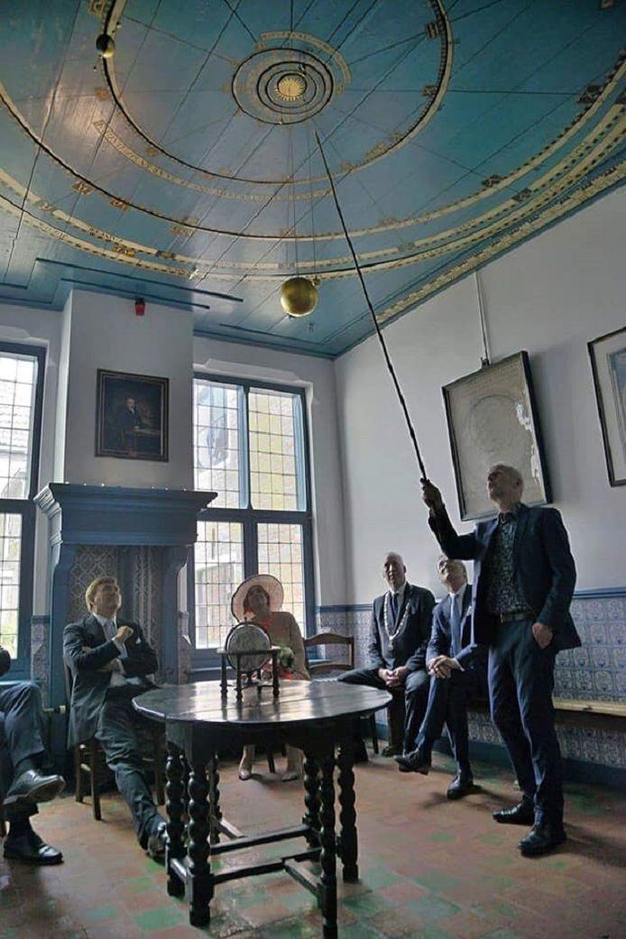 Koning Willem-Alexander en koningin Máxima drie jaar geleden tijdens zijn bezoek aan het oudste nog werkende planetarium ter wereld.