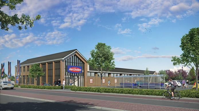 Het ontwerp voor de nieuwe Jan Linders in Mook. Ook de aankondiging van de bouw geldt volgens de gemeente Mook en Middelaar als reclame.