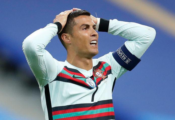Cristiano Ronaldo tijdens Frankrijk - Portugal op 11 oktober, zijn laatste wedstrijd.