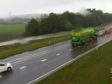 Files op A15 en voor Rijnbrug bij Rhenen door ongeval bij Dodewaard