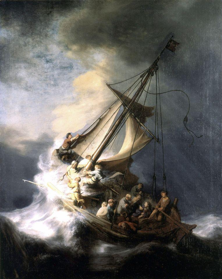 Christus in de storm op het meer van Galilea Beeld AP