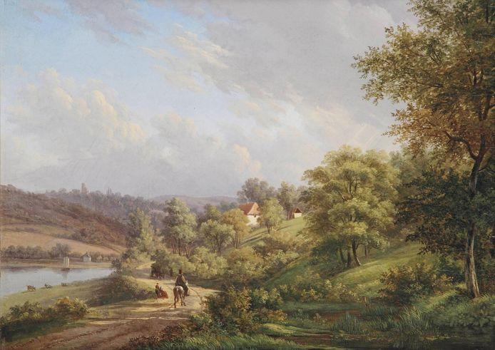 Johannes Franciscus Christ, Rustige dag in een heuvelachtig landschap, een van de werken die te zien is op de expositie.