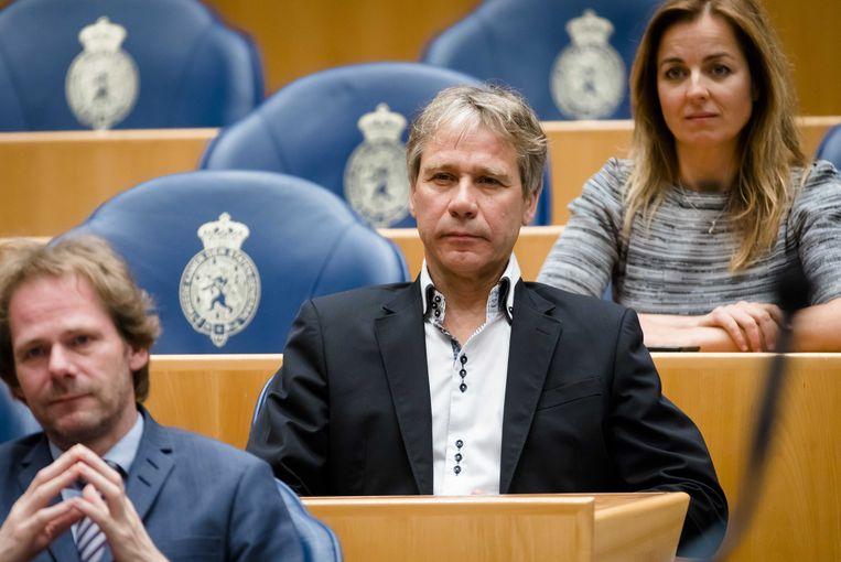 Rik Grashoff tijdens zijn afscheid  in de Tweede Kamer.  Beeld ANP