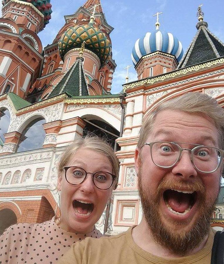 Bieke en Jelle in Moskou, waar hun avontuur begon.