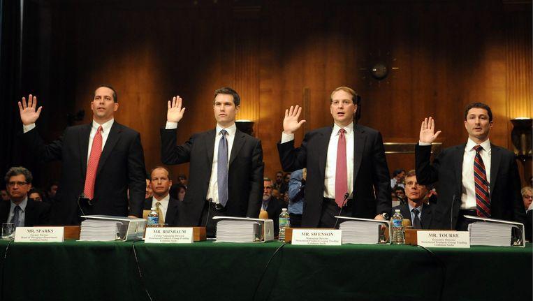 De topmannen van Goldman Sachs leggen in 2010 de eed af voorafgaande aan de hoorzitting in Washington. Beeld epa