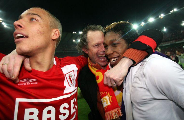 Vlnr.: Axel Witsel, Michel Preud'homme en Diemerci Mbokani na de kampioenenmatch tegen Anderlecht.