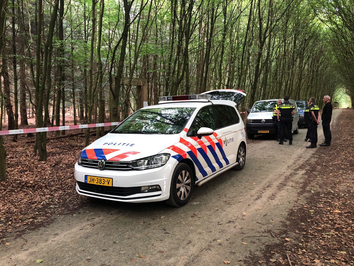 De politie doet onderzoek naar een gevonden schedel in een bos bij Putten.