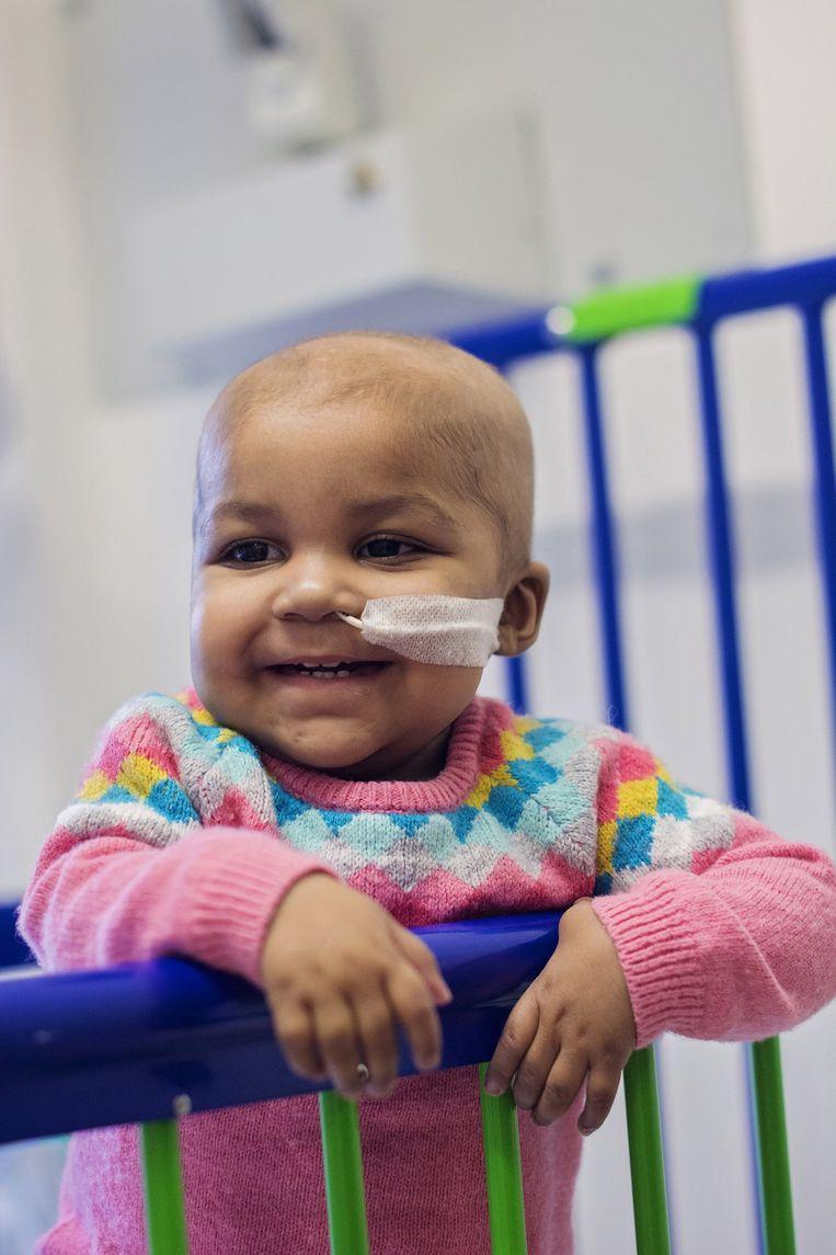 Layla Richards was nog maar drie maanden oud, toen er vorig jaar acute lymfatische leukemie bij haar werd geconstateerd. Beeld REUTERS via Great Ormond Street Hospital (GOSH)