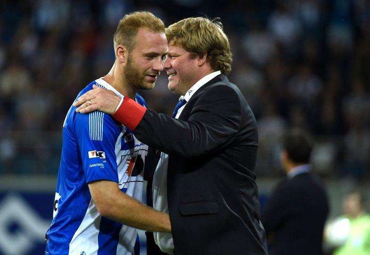 Laurent Depoitre  en Hein Vanhaezebrouck bij AA Gent.