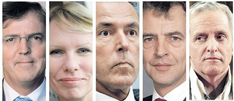Van links naar rechts: Loek Hermans (VVD), Marleen Barth (PvdA), Elco Brinkman (CDA), Roger van Boxtel (D66), Tof Thissen (Groenlinks). Beeld ANP