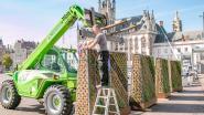 Tien groene zitelementen van elk 4 ton op Grote Markt