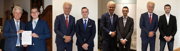 Van links naar recht zijn dit de piepjonge PVV'ers: Vincent Bosch (Tholen) en Hendrik Wakker (Urk) zijn pas twintig, Jeremy Mooiman (Zoetermeer) is 22 en Ashwin van Stormbroek (Lelystad) 25. Beeld null