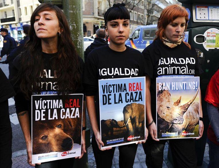 Demonstranten protesteren tegen de olifantenjacht van de Spaanse koning. Beeld afp