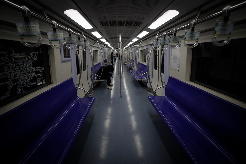 Het openbaar vervoer in Peking is leeg.