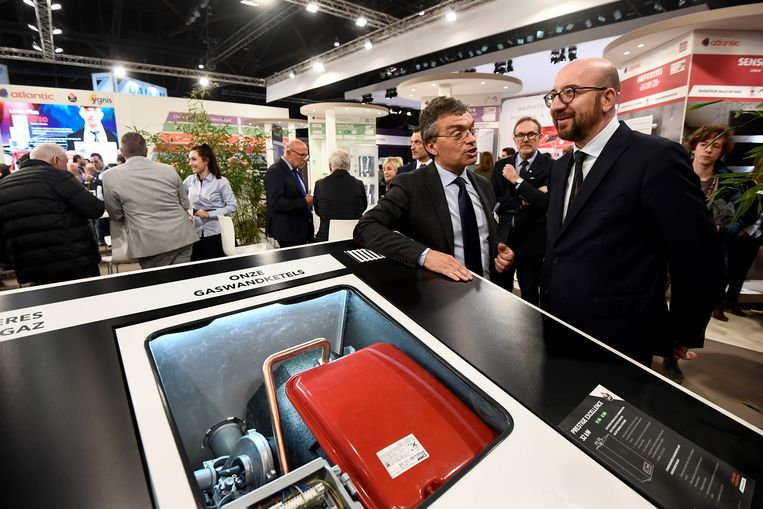 Belgian Prime Minister Charles Michel (R) pictured at a visit to the 2019 edition of Batibouw, the annual building, renovation and decoration exhibition in Brussels Expo in Brussels, Friday 22 February 2019. Batibouw 2019 runs from February 21st to March 3rd. BELGA PHOTO DIRK WAEM