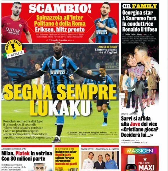 La Gazzetta dello Sport pakte groot uit met Lukaku.