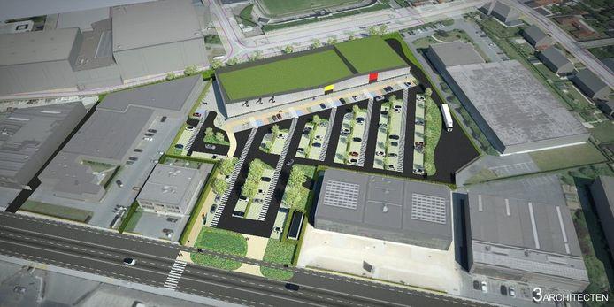 Een simulatiebeeld van het winkelcomplex en de bijhorende parking
