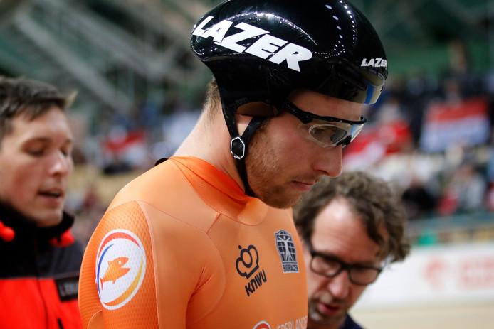 Jan Willem van Schip tijdens het WK baanwielrennen in Polen.