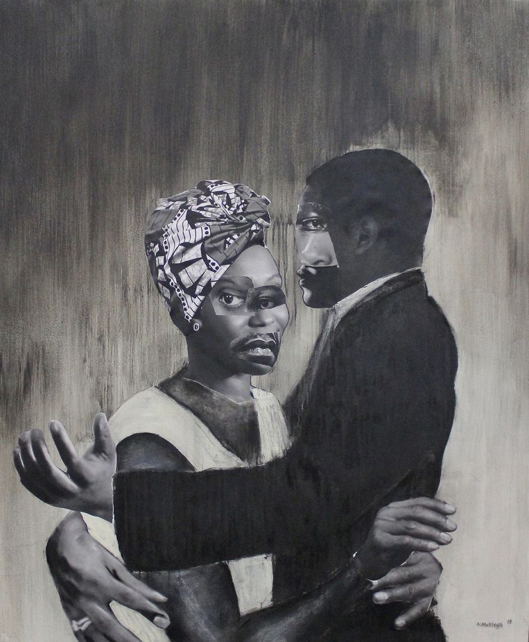 Neo Matloga, 'Bula pelo yao', collage, houtskool en inkt op canvas Beeld -