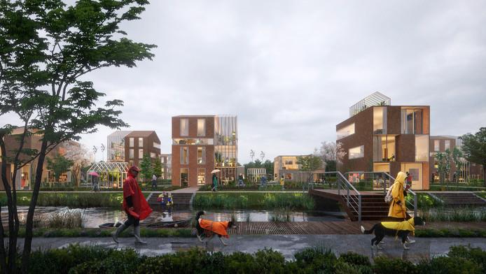 Impressie van de slimme wijk in Helmond, offcieel Brainport Smart District geheten.