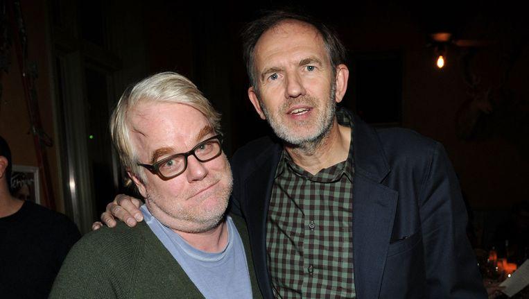 Philip Seymour Hoffman en Anton Corbijn twee weken geleden in Park City, Utah. Beeld getty