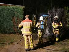 Coniferenhaag vat vlam op camping in Aalten