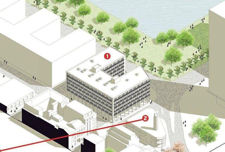 Een toekomstbeeld van de site, met het geplande U-vormige woonblok (1) en de showroom met torentje (2, zie ook inzet), die overeind blijft en een invulling krijgt als kantoor- of commerciële ruimte.