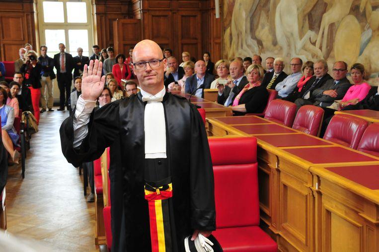 Johan Sabbe bij zijn eedaflegging als procureur des Konings van het parket van Oost-Vlaanderen.
